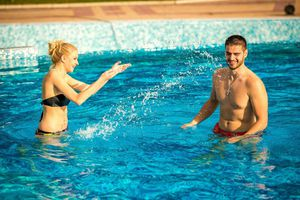 Couple in Pool of Spa Hotel Hissar in Hisarya, Bulgaria